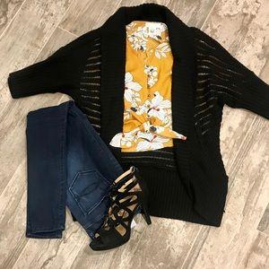 Black oversized tunic cardigan 3/4 sleeve
